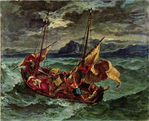 """Eugene Delacroix, """"Christ on the Sea of Galilee"""" www.wikipaintings.org"""