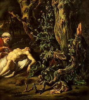 """Detail from Jan Wijnants, """"Parable of the Good Samaritan"""""""