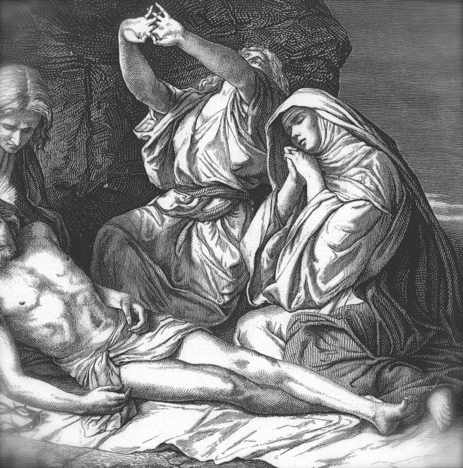 "Detail from Alexandre Bida, ""Joseph of Arimathea Prepares Jesus for Burial"" http://www.gci.org"