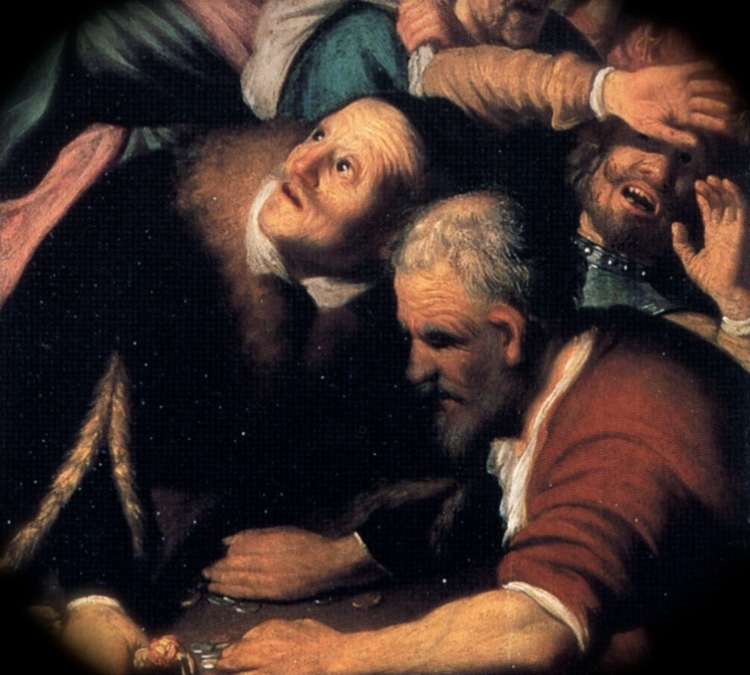"""Detail from Rembrandt van Rijn, """"Christ Driving Money Changes from the Temple"""""""