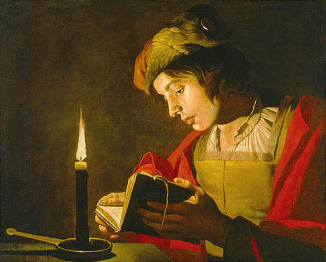 """Matthias Stom, """"Young Man Reading by Candlelight"""" Wikipaintings.org"""