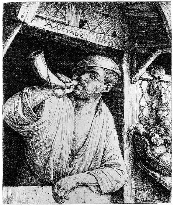 Adriaen van Ostade - A Baker Sounding His Horn (Wikimedia Commons)