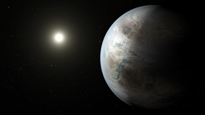 """Kepler-452b artist concept"" by NASA Ames/JPL-Caltech/T. Pyle - http://www.nasa.gov/image-feature/soaking-up-the-rays-of-a-sun-like-star-artistic-concept."